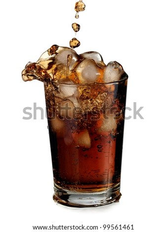 Cola with ice splash