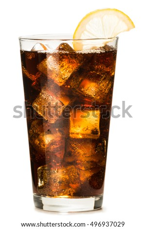 Cola with Lemon on White