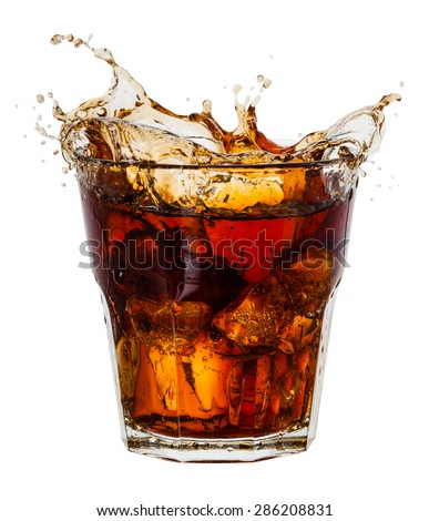 Cola with splash of ice cubes on white. With clipping path - stock photo