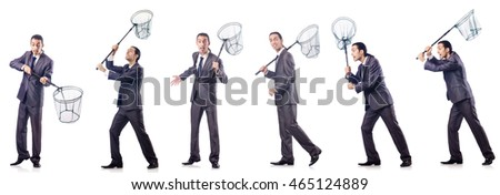 Colage of businessman with catching net on white