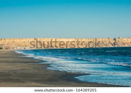 Colan beach in the peruvian coast at Piura Peru - stock photo