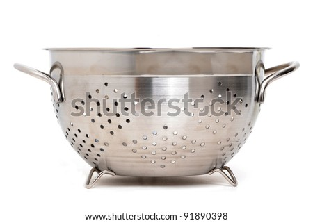 colander on a white background - stock photo