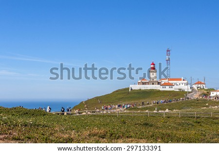 COLARES, PORTUGAL - MAY 26, 2015: Cabo da Roca (Cape Roca)  lighthouse. It is a cape which forms the westernmost extent of mainland Portugal and continental Europe. - stock photo