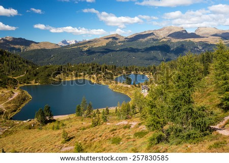 Colbricon lakes, Natural Park of Paneveggio Pale di San Martino, region Trentino, Italy - stock photo