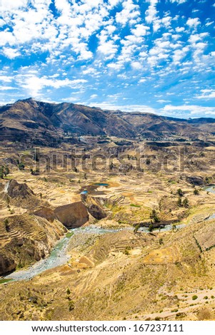Colca Canyon, Peru,South America.  Incas to build Farming terraces with Pond and Cliff. One of deepest canyons in world