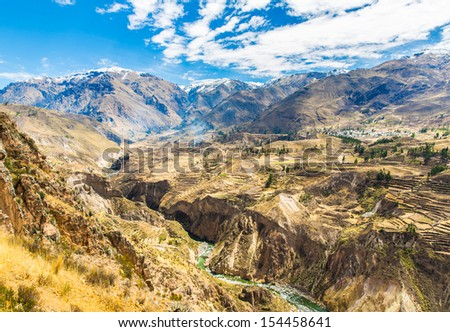 Colca Canyon, Peru,South America. The Incas  to build Farming terraces  with Pond and Cliff. One of the deepest canyons in the world - stock photo