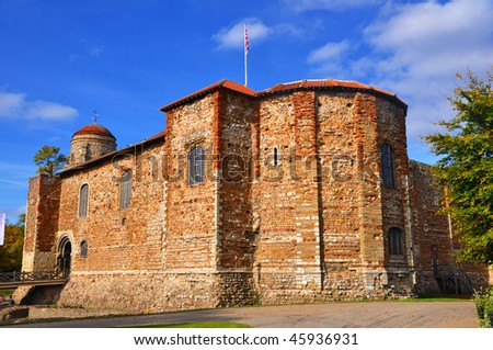 Colchester Castle in the Fall. - stock photo