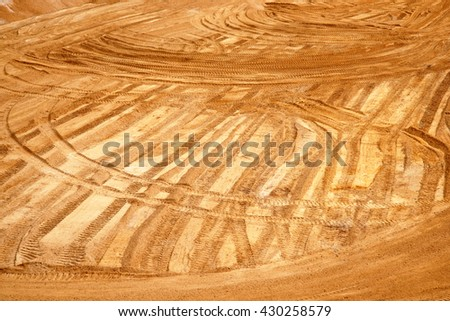 COLCHESTER, ESSEX, ENGLAND: 24th May 2016. Patterns in sand and gravel excavation at quarry.