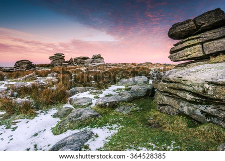 Cold and frosty morning hiking on hilhs at Dartmoor National Park, Devon, UK. - stock photo