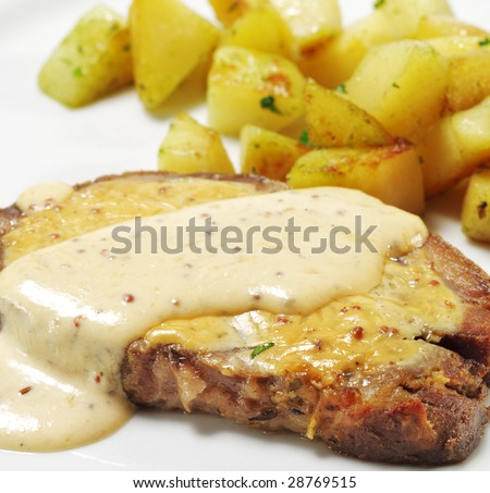 Cold Baked Pork with Mustard Sauce and Potato - stock photo