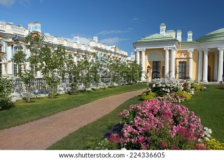 Cold Bath with Agate Rooms in Catherine park, Tsarskoye Selo (Pushkin), architect Charles Cameron, neighborhood of Saint-Petersburg, Russia - stock photo