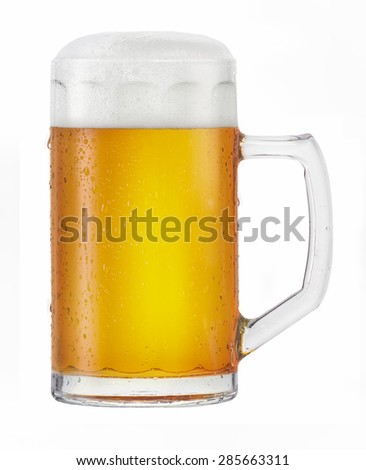 Cold beer. A glass of cold beer. Isolated on white background - stock photo