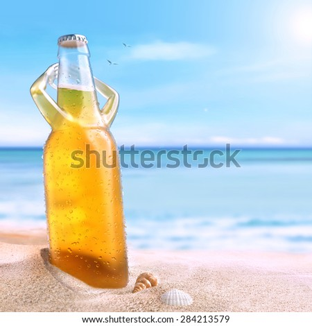cold beer enjoying a sun - stock photo