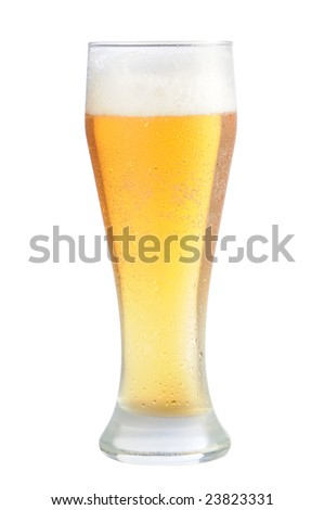 Cold beer glass on white background with clipping path