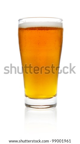 Cold beer, isolated on white background. - stock photo