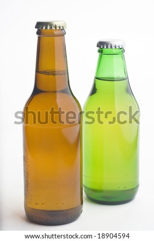 Cold beer isolated over white