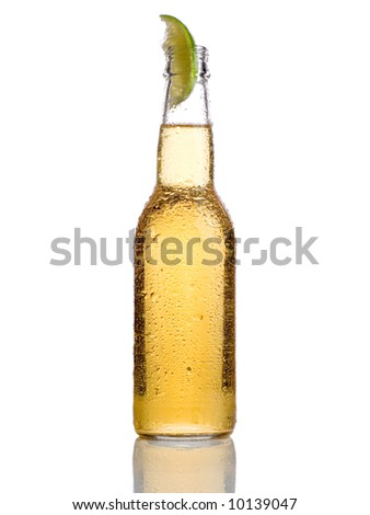 Cold beer with lime