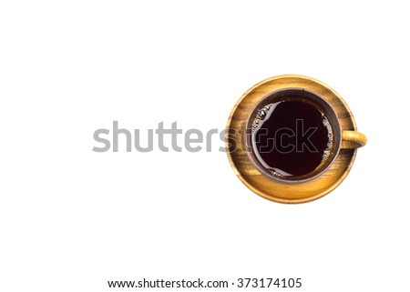 Cold black tea in wood cup isolated white background  - stock photo