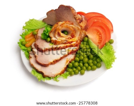Cold boiled pork decorated with salad, tomatoes and green pea on the plate over white background - stock photo