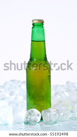 Cold bottle of beer with ice