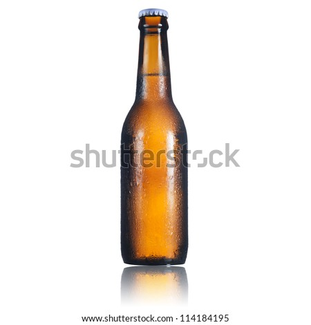 Cold bottle of light beer isolated on a white background.