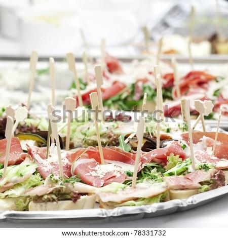 cold buffet closeup - stock photo
