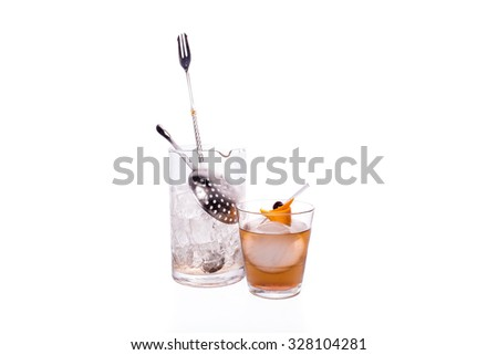 Cold Cocktail drink with alcohol and garnish - stock photo