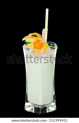 Cold  cocktail  Isolated On black - stock photo
