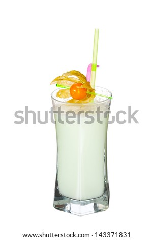 Cold  cocktail Isolated On White - stock photo