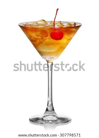 Cold cocktail with a cherry in martini glass - stock photo