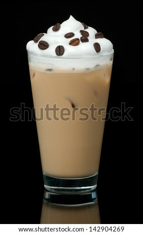 cold coffe cup on the black background - stock photo