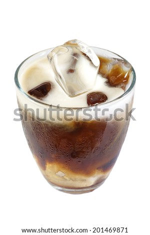 Cold coffee drink with ice  - stock photo