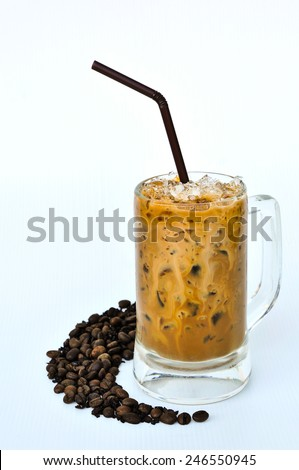 Cold coffee with ice have space for text isolated on white - stock photo