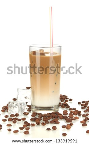 Cold coffee with ice in glass isolated on white - stock photo