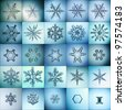 cold crystal gradient snowflakes - microscopic photo set collection - stock photo