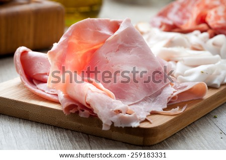 cold cuts with bread - stock photo