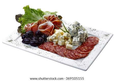 cold dish with cheese, Pepperoni, olive and salad on white background isolated - stock photo