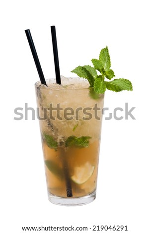 Cold drink with lime and mint - stock photo