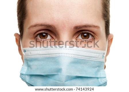 Cold flu illness women in medicine healthcare mask - stock photo