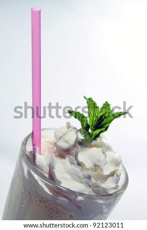 Cold fresh ice coffee with chocolate - stock photo