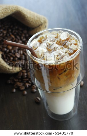 cold fresh ice coffee with chocolate close up - stock photo