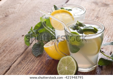Cold fresh lemonade drink on a wooden background - stock photo
