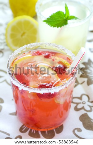 cold fresh lemonade drink with mint close up - stock photo
