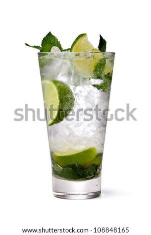 cold fresh lemonade. Isolated on white background - stock photo