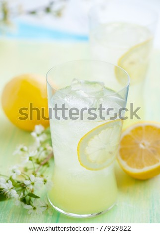cold fresh lemonade with ice