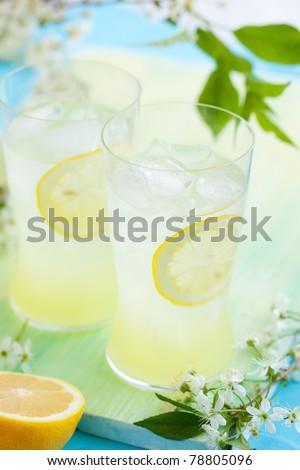 cold fresh lemonade with ice - stock photo