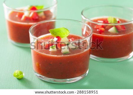 cold gazpacho soup in glass - stock photo