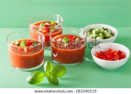 cold gazpacho soup in glasses - stock photo