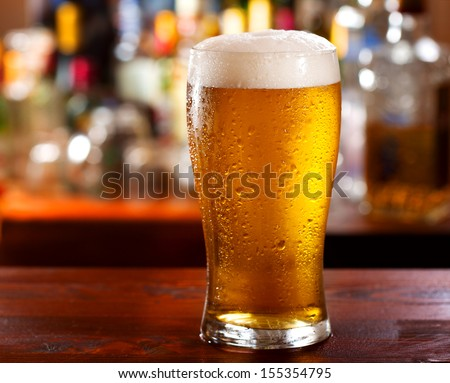 cold glass of beer - stock photo