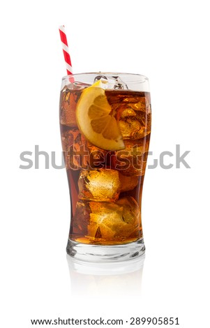 cold glass of cola with ice cubes, lemon and straw isolated on white background